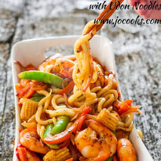 Spicy Black Pepper Shrimp with Udon Noodles.