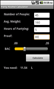 Alcohol Party Calculator- screenshot thumbnail