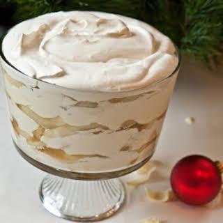 White Chocolate Tiramisu Trifle with Spiced Pears.