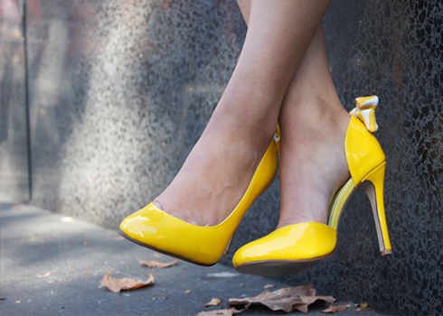 Yellow patent leather high heels