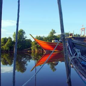 Kampung Tekajong by aRie Fitri - Landscapes Sunsets & Sunrises ( tekajung, sunset, bot, sampan, boat, sarawak )