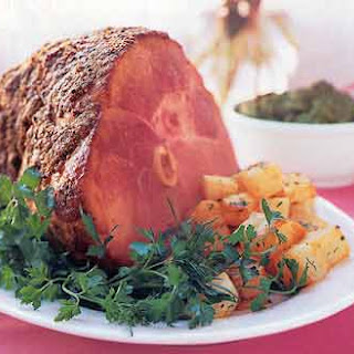 Spice-Crusted Ham with Maple Mustard Sauce.