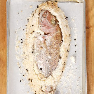 Sea Salt-Crusted Pink Snapper with Ice Wine Nage.