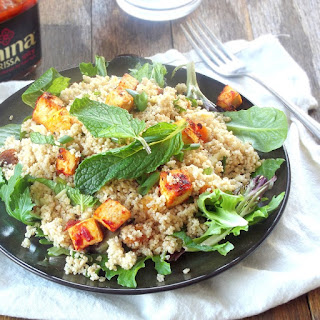Apricot Mint Couscous with Baked Harissa Tofu