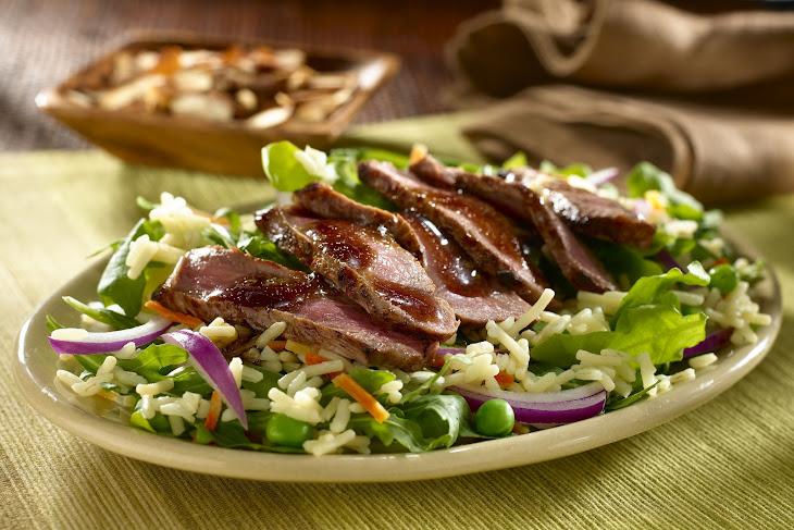 Balsamic Steak & Arugula Salad with Rice Recipe
