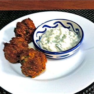 Merguez Meatballs with Minted Yogurt Dipping Sauce.
