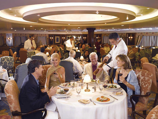 Dine in the European elegance of the Grand Dining Room during your travels on Oceania Nautica.