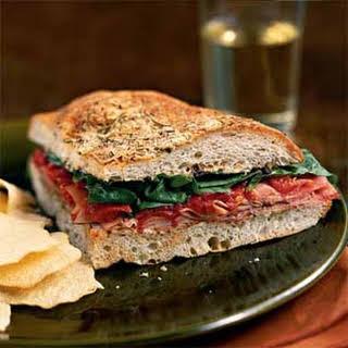 Ham and Spinach Focaccia Sandwiches.