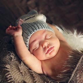 Rise & Shine by Susan Wilcox - Babies & Children Babies ( color, nest, owl, newborn, portrait )