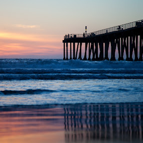 Pier in LA by Danielle Falknor - Landscapes Beaches ( beaches, california, sunset, reflections, pier, los angeles )