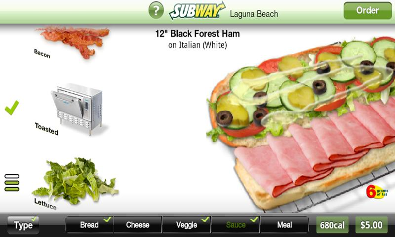 Subway Ordering for California- screenshot