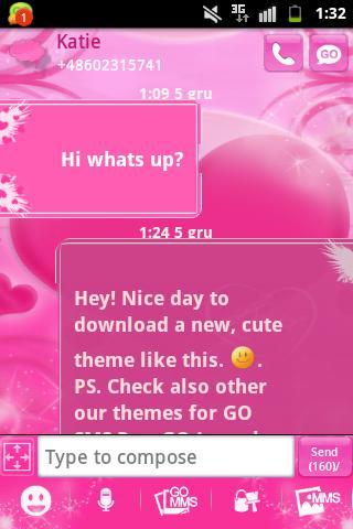 玩個人化App|GO短信Pro的主題粉紅色的愛 GO SMS Pro免費|APP試玩
