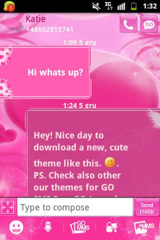 GO SMS Pro Theme Pink Love - screenshot