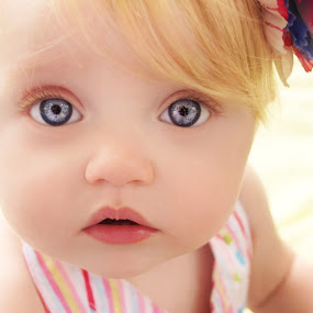 Bright Eyes in Color by Cheryl Korotky - Babies & Children Child Portraits ( face, model, blonde hair, mouth, enchanted imagination, a heartbeat in time photography, portfolio, peyton, close-up, child, pose, amazing faces, blue eyes, beautiful children, children wearing headbands,  )