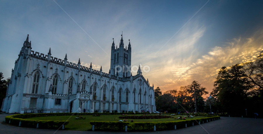 St. Pauls Cathedral, Kolkata by Joydeep Bhattacharya - Buildings & Architecture Places of Worship ( church, sunset, kolkata, st pauls cathedral church,  )