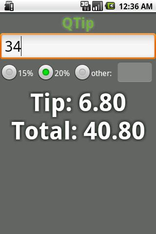 QTip Tip Calculator- screenshot