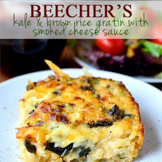 Beecher's Kale and Brown Rice Gratin with Smoked Cheese Sauce.