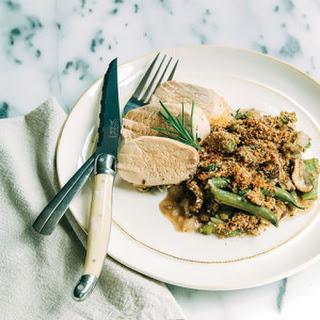 Roasted Rosemary & Thyme Pork Tenderloin with Green Bean Mushroom Casserole.