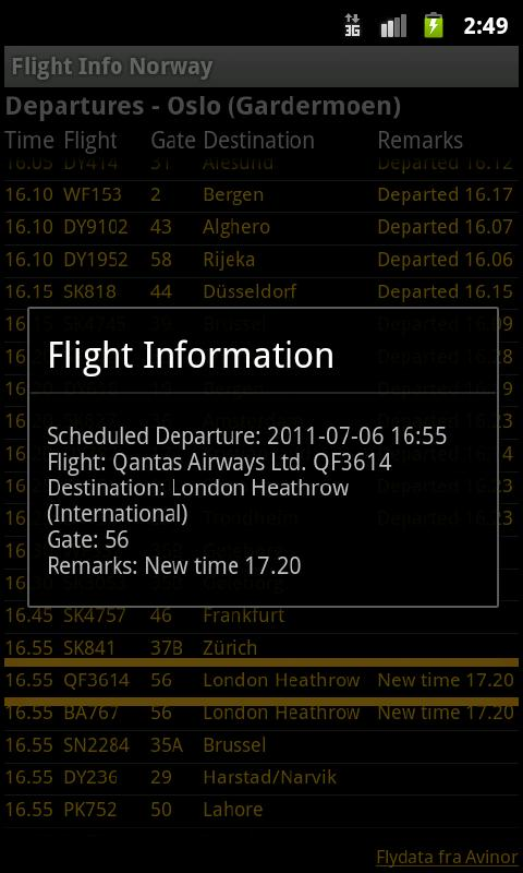 Flight Info Norway - screenshot