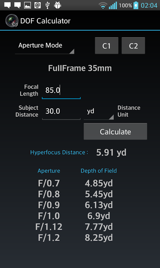 DOF Calculator- screenshot