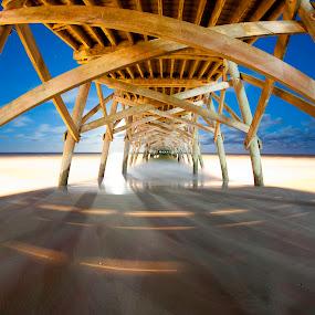 Super Moon at Surfside Pier by Cathie Crow - Buildings & Architecture Bridges & Suspended Structures ( piers, nature, surfside pier, pier, landscape photography, ocean, landscapes, supermoon )