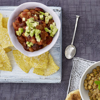 Warm Mexican bean dip with tortilla chips.