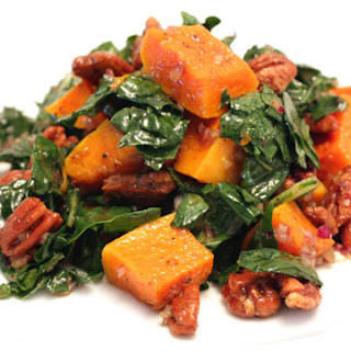 Kale Salad with Roasted Butternut Squash and Spiced Pecans.