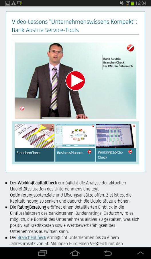 Bank Austria e-Magazine – Screenshot