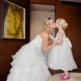 Kisses for Mummy by Alan Evans - Wedding Getting Ready ( wedding photography, flowergirl dress, melbourne wedding photographer, melbourne, wedding, aj photography, getting ready, wedding dress, pink shoes, bride, flowergirl, kisses,  )
