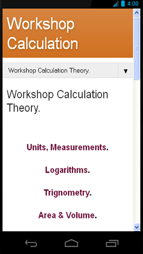 Workshop Calculation Theory