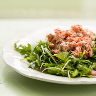 Salmon Salad on Arugula.
