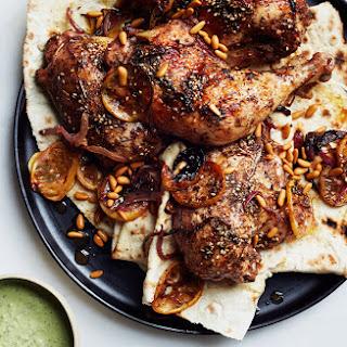 Za'atar Roast Chicken with Green Tahini Sauce.
