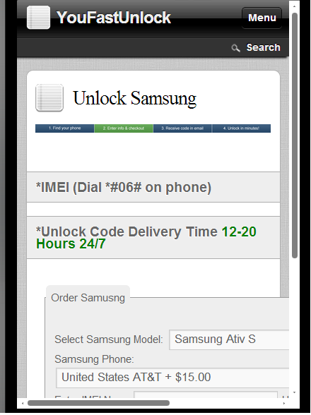 Unlock Samsung Infuse - screenshot