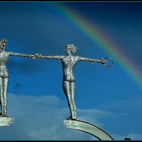 journeys end by Sandy Crowe - Uncategorized All Uncategorized ( scotland, sculpture, statue, metal, rainbow,  )