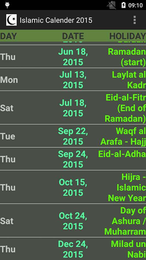 Ben noto ISLAMIC HOLIDAY CALENDAR 2015 - Android Apps on Google Play CA72