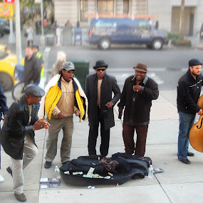 Street Musicians by Sue Green - City,  Street & Park  Street Scenes ( streetscapes, musical, small group, artisan, long shot, nyc, high quality, in focus, ny, , Urban, City, Lifestyle )