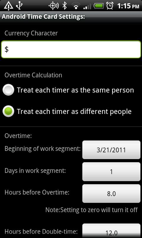 Android Time Card - screenshot