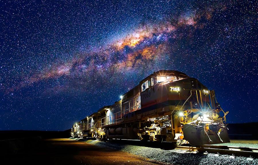 Pilbara Express by Matt Hutton - Transportation Trains ( railway, locomotive, stars, rail, train, milky way, land, device, transportation )