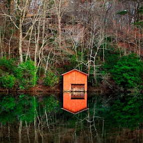 by Dan Bartlett - Landscapes Waterscapes ( lake water trees boat house shed green water,  )
