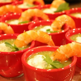 Chilled Zucchini Soup w/ Lemon- Cumin Shrimp & Cilantro Cream