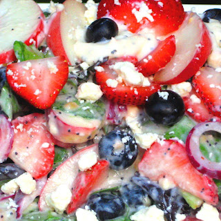 Peaches 'n Berries, Red Onion, Feta Greens with Creamy Poppy Seed Dressing.