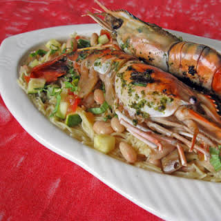 Grilled Prawns with Pasta au Pistou.