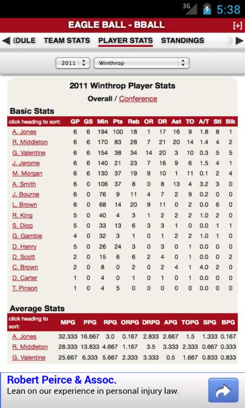 Winthrop Basketball - screenshot