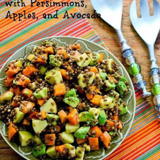 Fruity Lentil Salad with Persimmon, Apple, and Avocado.