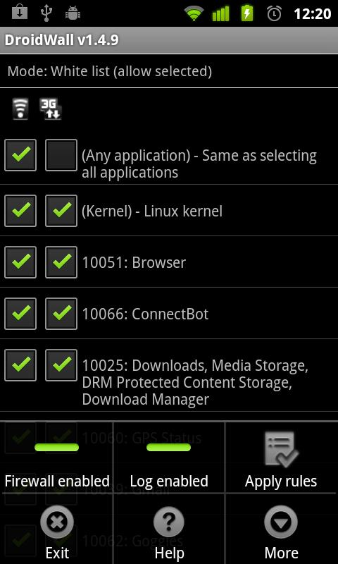 DroidWall - Android Firewall - screenshot