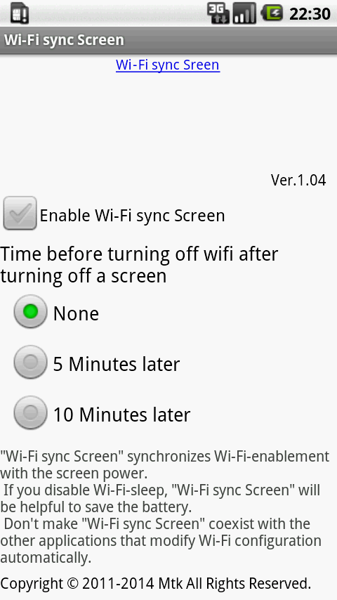 Wi-Fi sync Screen- screenshot