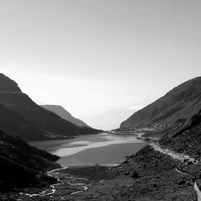 Tsomgo lake by Caesar Jees - Black & White Landscapes ( blackandwhite, b&w, nature, black and white, travel, landscape )