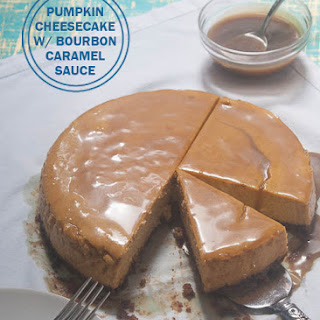 Pumpkin Cheesecake with Bourbon Caramel Sauce