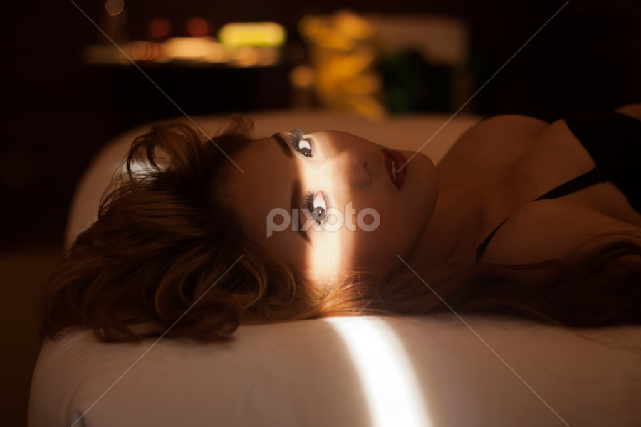 Hey by J D - People Portraits of Women ( bed, light, eyes,  )