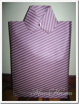 Bolsa de regalo en forma de camisa - Manualidades Día del Padre